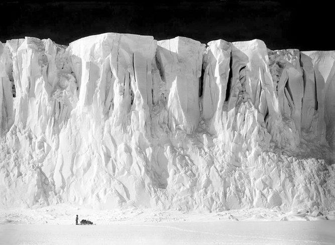 Anton Omelchenko stands at the end of the Barne Glacier on Ross Island, in the Ross Dependency of Antarctica, during Captain Robert Falcon Scott's Terra Nova Expedition to the Antarctic, 2nd December 1911. (Photo by Herbert Ponting/Scott Polar Research Institute, University of Cambridge/Getty Images)
